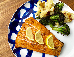 Recipe for Easy Bake Cajun Salmon with Roasted Cauliflower & Broccoli