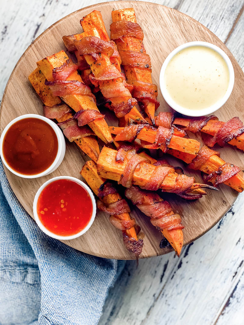Bacon Wrapped Sweet Potato Fingers